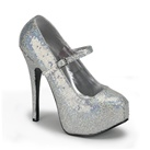 TEEZE-07H Silver Mary Jane Pumps