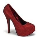 TEEZE-31 Red Glitter Platform Pumps