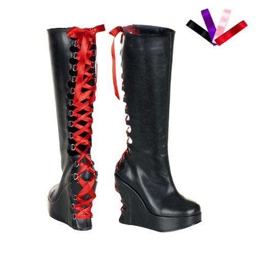 Demonia Bravo 106 Black Wedge Heel Gothic Platform Boots