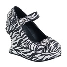 BRAVO-10G Demonia Zebra Glitter Wedge Mary Jane Shoes
