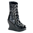 BRAVO-66 Demonia Black Wedge Buckle Boots