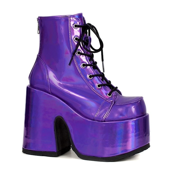 Demonia Camel 203 Purple Lace Up Gothic Platform Boots