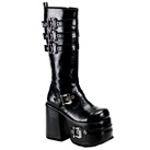 CHOPPER-101 Demonia Black Buckle Knee Boots