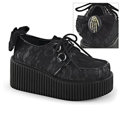 CREEPER-212 Lace-Overlay Creeper Shoes