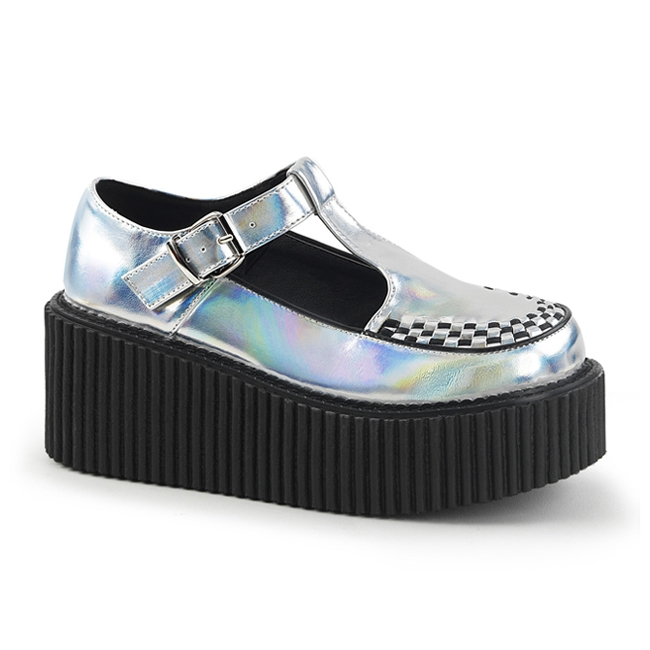 demonia creeper214 silver platform creeper shoes