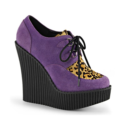 CREEPER-304 Purple Suede Wedge Creepers