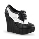 CREEPER-307 Black & White Wedge Creepers