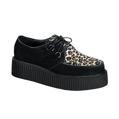 demonia creeper 400 cheetah fur mens creeper shoes
