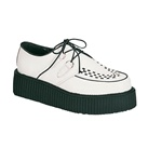 CREEPER-402 White Leather Creeper Shoes