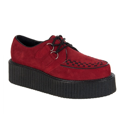 CREEPER-402 Red Suede Creeper Shoes