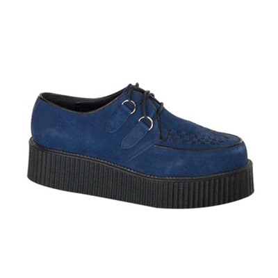 CREEPER-402 Blue Suede Creeper Shoes