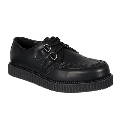 CREEPER-602 Black Leather Creeper Shoes
