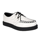 CREEPER-602 White Leather Creeper Shoes