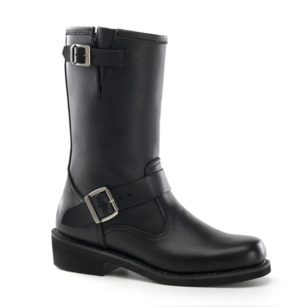 demonia black leather mens engineer boot demonia shoes
