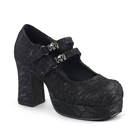 GOTHIKA-09 Black Lace Skull Buckle Platform Shoes