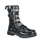 GRAVEL-10S Black Leather Combat Boots