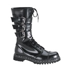 GRAVEL-14 Black Leather Combat Boots