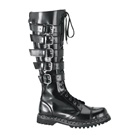 GRAVEL-20 Black Leather Strap Boots