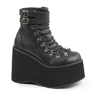 KERA-21 Black Wedge Platform Boots