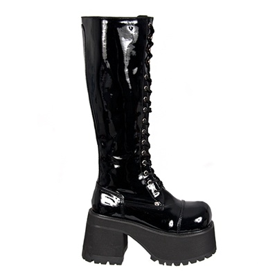 Knee High Platform Combat Boots in Black Patent - Demonia boots at