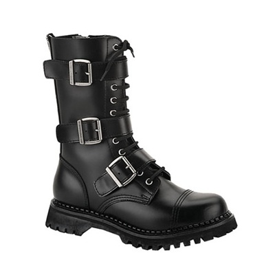 black leather mens combat bootsdemonia shoessinistersoles