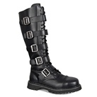 RIOT-20 Black Leather Demonia Combat Boots