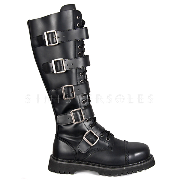 Demonia Riot 20 Black Leather Men S Gothic Combat Boots