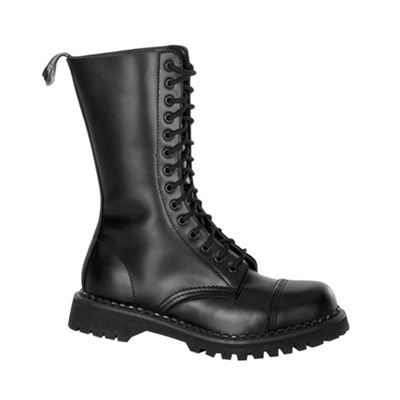 ROCKY-14 Black Leather Combat Boots