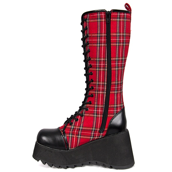 Demonia Scene 100 Lace Up Red Plaid Women S Platform Boots