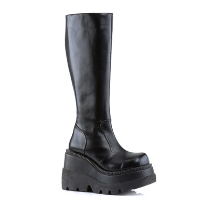 SHAKER-100 Black Wedge Platform Boots