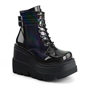 SHAKER-52 Black Hologram Wedge Platform Boots