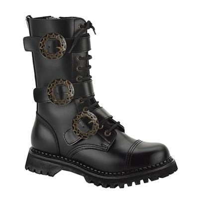 demonia steam12 mens black leather gothic steampunk boots
