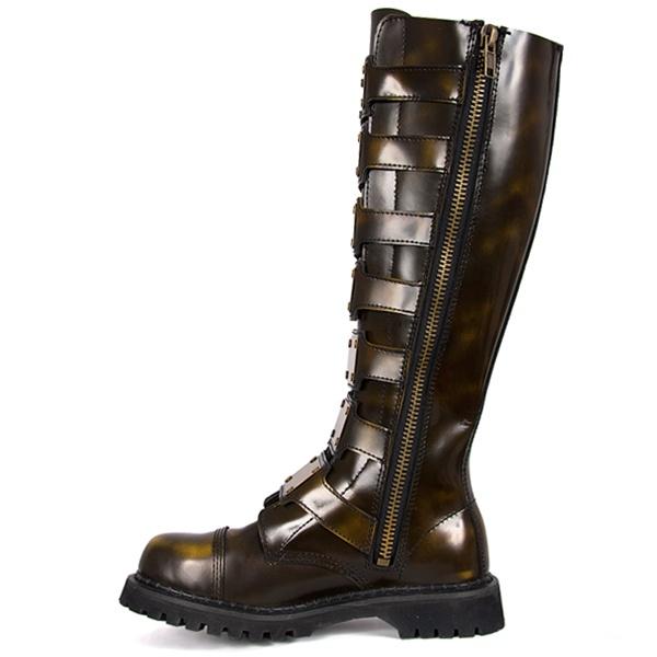 demonia steam30 mens black leather gothic steampunk boots