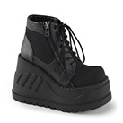 STOMP-10  Black Wedge Platform Boots