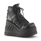 STOMP-12 Black Wedge Platform Boots