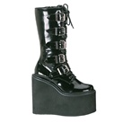 SWING-220 Demoni Black Buckle Gothic Platform Boots