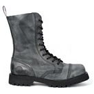 NEVERMIND 10-Eye Gray Leather Boots