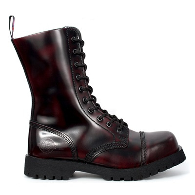 NEVERMIND 10-Eye Burgundy Leather Boots