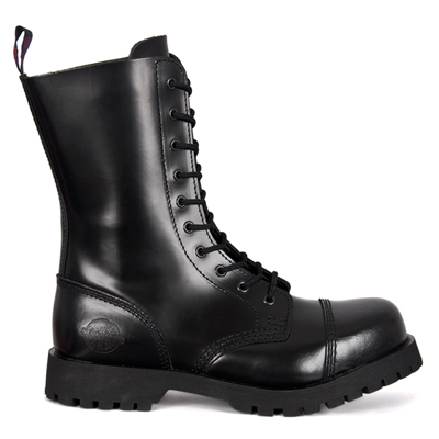 NEVERMIND 10-Eye Black Leather Boots