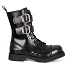 NEVERMIND 10-eye Leather Buckle Boots