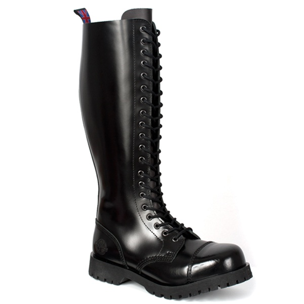 20 Eye Black Leather Combat Boots By Nevermind