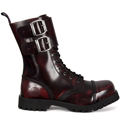 Burgundy Leather Combat Boots by Nevermind