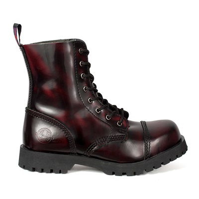 NEVERMIND 8-Eye Burgundy Leather Boots