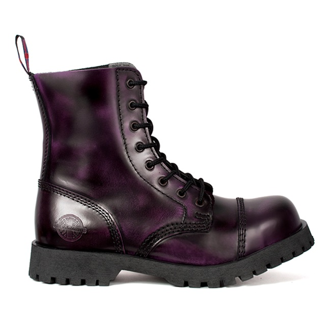 Nevermind 8 Eye Purple Leather Boots Sinistersoles Com