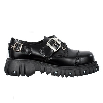 Black Leather BUCKLE Strap Shoes