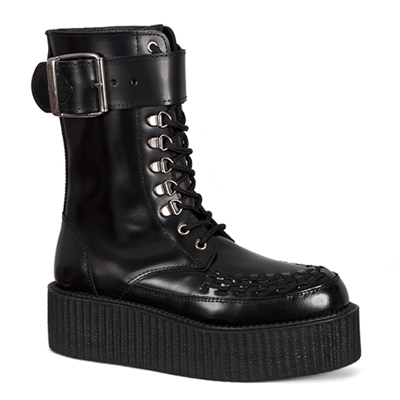Black Leather Creeper Boots by Nevermind