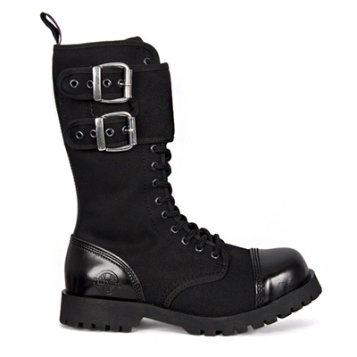 Black Canvas 14-eyelet Gothic Combat Boots by Nevermind ...