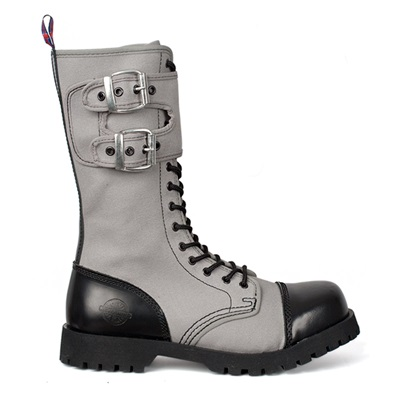 Gray Canvas 14-eyelet Gothic Combat Boots by Nevermind ...