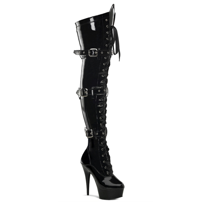 pleaser delight 3028 thigh high buckle boots pleaser