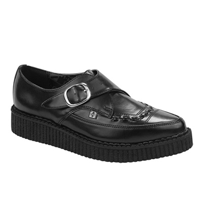 TUK Pointed Black Leather Creeper Shoes